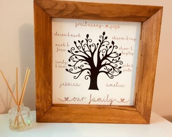 Personalised family Tree Canvas/Handmade Canvas/Personalised Canvas/Personalised Print/New Home Gift/Gift/Home Decor/Family Gift