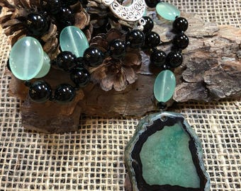 Black and green druzy slice pendant necklace