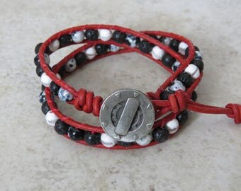 Red and Black 2-wrap Bracelet