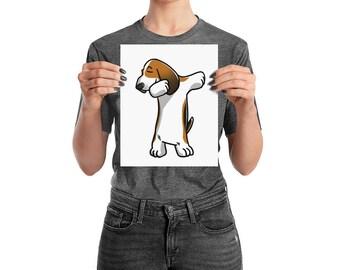Funny Dabbing Basset Hound Poster, Cute Basset Hound Dog Wall Art