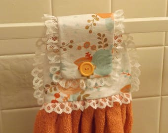 Button on Hanging Hand Towel / Free Shipping / Handmade / Carrot Orange Floral Print - Carrot Towel