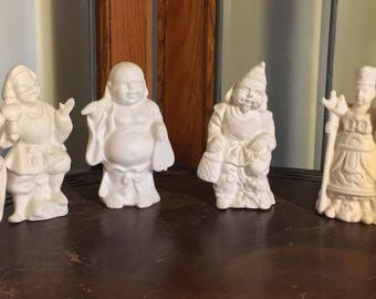 Set of 6 Bisque Asian Artisan Figurines Buddha Matte Finish