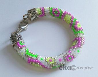 Bead crochet coloured bracelet