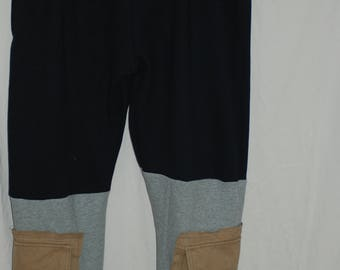 Gray/Black cut and sew sweatpants with added cargo pockets