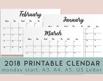 2018 Calendar Printable Large Calendar Printable Black and White Calendar A5, A4, A3, US Letter, Monday start