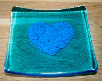 Blue heart fused glass dish / candle holder