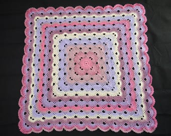 Hand made Crochet Baby Blanket (88cm / 35inches square approximately)