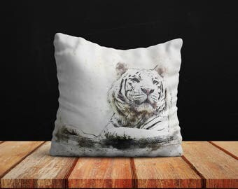 White Tiger Art Best Pillow Gifts, 18x18 Throw Pillow with Tiger, Tiger Lover Gift, Animal Gifts For Her, Made in USA