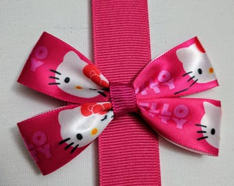 Hello Kitty hair bow girls hair bow small hair bow pink hair bow hair clip toddler hair bow hair accessories