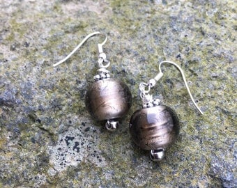 Beads-Earrings Bronze-silberfoliert-