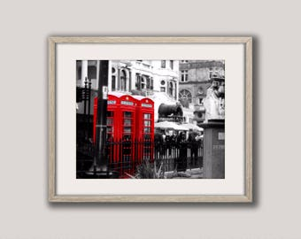 Red Phone Box Print, Red Telephone Print, Digital Download, London Print, London Wall Art, London Photography Print
