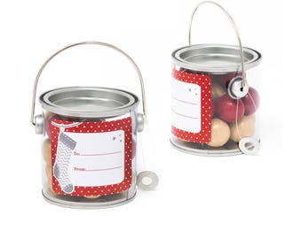 Christmas gift- Candy tin pail bucket- filled with red and gold gumballs