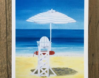 Saadiyat Lifeguard - a greetings card from an original oil painting by Claire Sims-Craddock