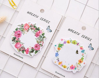 Cute Wreath Memo Pads / Sticky Notes / School Supplies / Self Adhesive /
