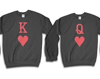 Couple Sweatshirt, Playing Cards Shirt, King Of Hearts, Queen Of Hearts, Couples Shirts, Valentine Shirt, Gift For Her, Gift For Him