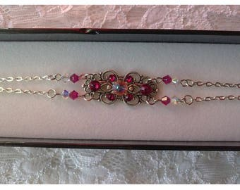 "Fuchsia and Crystal AB ""NOELIA"" Swarovski Crystal bracelet"