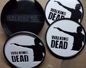 Walking Dead with Rick Coasters  (3d Printed set of 3)