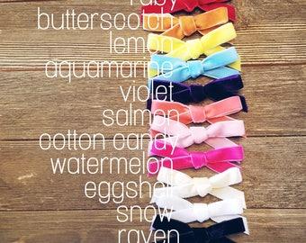 Vera Bow | Mini Velvet Baby Bow | Headband | Hair Clip | Handmade