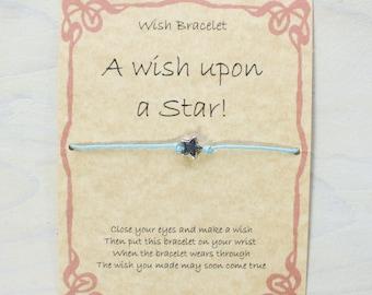 Handmade Gift card, Wish Bracelet. Star charm, cotton waxed cord.