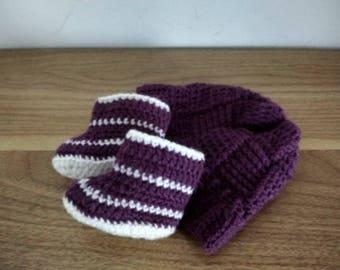 Crochet baby gift set, violet