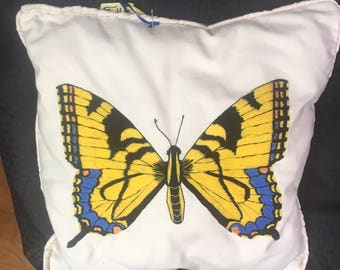 Hand Embroidered Butterfly Pillow