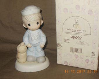 Precious Moments Navy Bless those who Serve their Country HAND SIGNED Sam Butcher with box 526568