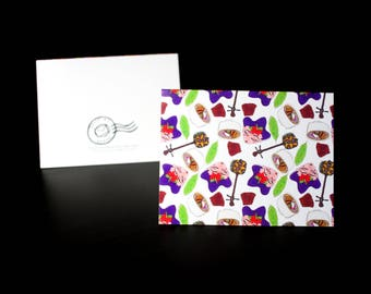 """5.5""""x4"""" Okinawa themed Greeting Card in White"""