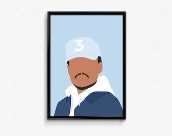 Chance the Rapper Poster / Chance the Rapper Print / Minimalist Art / Vector Art / Music Poster / Hip Hop poster / Rap poster