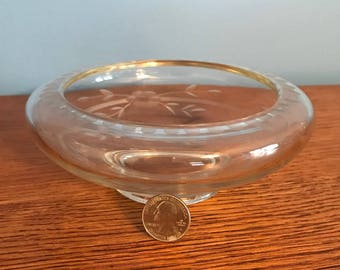 Vintage Round Etched Glass Candy Dish