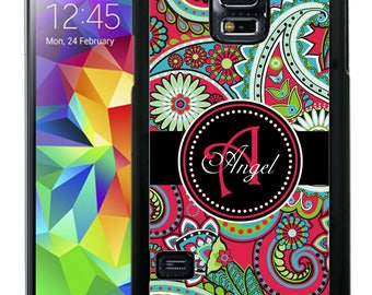 Personalize Rubber Case For Samsung Note 3, Note 4, Note 5, or Note 8- Hot Pink Paisley