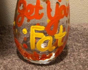 Thanksgiving Wine Glass