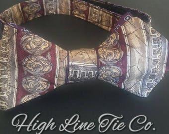 Reversible Self-Tie Bow Tie made from 2 vintage neckties