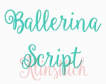 50% Sale!! Ballerina Script Embroidery Fonts 3 Sizes Fonts BX Fonts Embroidery Designs PES Fonts Alphabets - Instant Download