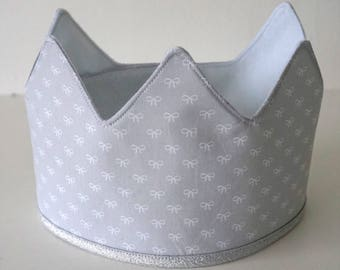 N E W | | Fabric Crown | | Grey with bows