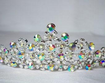 AB Rhinestone Tiara Prom Pageant MOB Bridal Wedding Quenceanera Bridesmaid Birthday Head Piece Crown Head Band Princess Hair Accessory