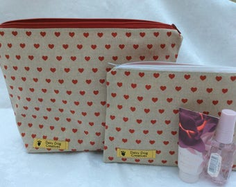 Valentine's Day Perfect Present Wash-Bag. Hearts with a flaming red lining. Designer 100% cotton material with a water resistant lining.