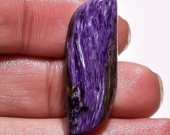 Natural Beautiful Designer Charoite AAA Gemstone - Charoite Jewelry - Charoite Cabochon - Loose Charoite Stone 21.40 Cts 31x12x6 MM TZ 1669