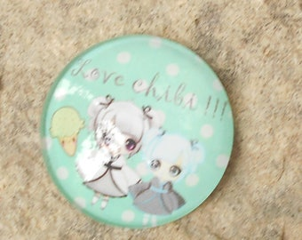 Glass cabochon 20 mm chibi doll