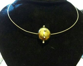 Dangerous! A mine around your neck. Necklace in brass and Silver. Italian Handmade.