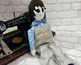 traditional hand made soft bodied rag doll one of a kind