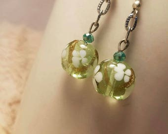 Green Lampwork Glass Dangle Earrings with a Teal Crystal bead and small Silver chain. Gold Glitter, Christmas gift. Glass dangle earrings