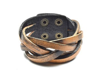 Braided Leather With Button Closure Bracelet