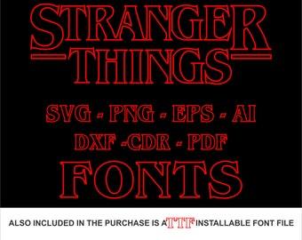 70% off, Stranger Things Fonts, Stranger Things Logo, Png, Svg, Dxf, Pdf, Stranger Things Clipart, Stranger things Vector, Cricut silhouette
