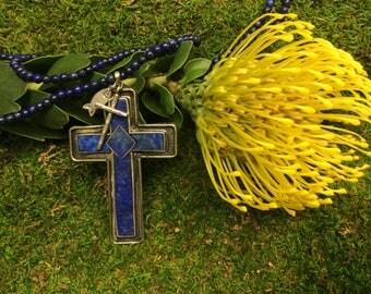 Lapis Lazule Christian Cross Necklace