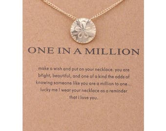 One in a Million Necklace, Sand Dollar Necklace, Gift Ideas, Beach Necklace, Dainty Necklace, Gifts for Her, Birthday, Simple Necklace, Gift