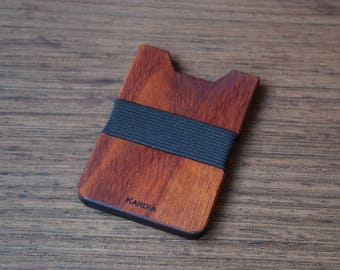 Wood Wallet, African Mohagany Wood, Minimalist Wallet, Card Holder, Boyfriend Gift, Front Pocket Wallet