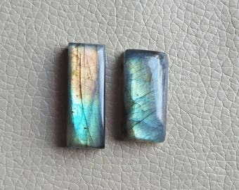 Labradorite Rainbow , Natural Labradorite 02 Pieces Gemstones 64 Carat Weight, Size - 30x15x9, 33x13x9 MM Approx. Labradorite Pendant Stones