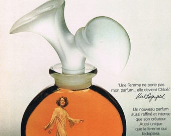 Karl Lagerfeld Paris - advertising paper 1975 french advertising paper 29x22cm vintage - Chloe perfume scent - become Chloé.