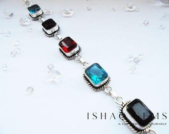 Sterling Silver and Multi Coloured Gemstone Bracelet Gifts for Her