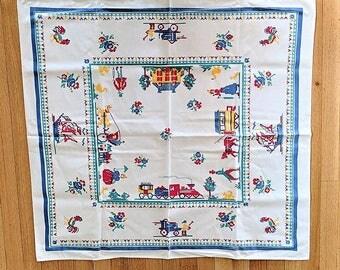 "Leacock Printed Small Tablecloth 35"" Square Cross Stitch Motif Kitchen Decor"